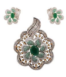 Floral Emerald-N- Diamond Pendant Set, green