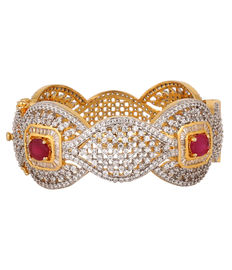 Ruby & Diamond Studded Scallop Bracelet, red & green