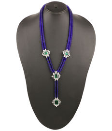 Long Majestic Blue Beaded Necklace, saphire