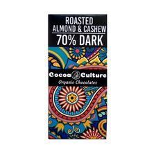 Roasted Almond and Cashew Dark Chocolate (70% ) Bar 75G
