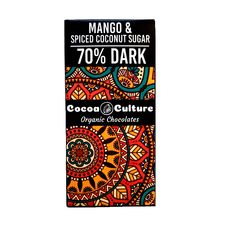 Mango and Coconut Sugar Dark Chocolate (70% ) Bar 75G