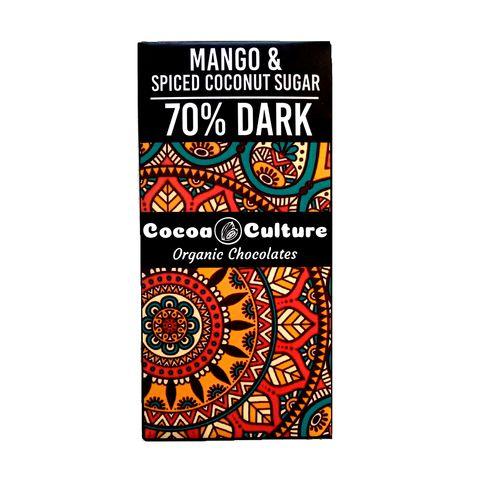 Mango and Coconut Sugar Dark Chocolate (70% ) Bar 75G
