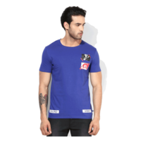 United Colors of Benetton Printed Round Neck T Shirt, s,  blue