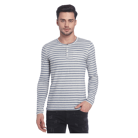 Jack & Jones Striped Henley Neck T-Shirt, xl,  off white