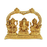 A Great Triad of laxmi Ganesh & Sarswati Statue, brass