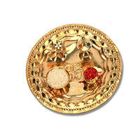 Curving Pooja Thali, golden antic, brass