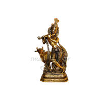 Lord Krishna With Cow Brass Statue, brass
