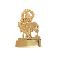 Krishna Cow Statue, gold, zinc