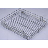 Modular Kitchen Luma Plain Basket, home care, 9 x 20 x 6 inches, stainless steel
