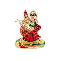 Radha Krishna Statue, 7 cm, colourful, white metal