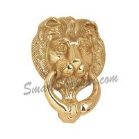 Door Knocker Heavy - Lion, 5 inches, gold, brass