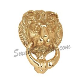 Door Knocker Heavy - Lion, 5 inches, gold, brass