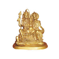 Lord Shiva Parivar Brass Statue Golden, brass