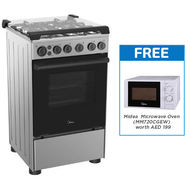 MIDEA 50x55 GAS COOKER WITH 4 BURNERS - BME55007FFD,  Inox Finish