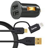Hama Dual Piccolino II USB Vehicle Charger+ 2in1 Micro USB Cable MFI,  Black