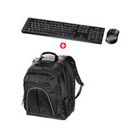 HAMA-Tucson Notebook Backpack display sizes up to 40 cm (15.6) black Plus RF2300 Wireless Keyboard Mouse Set(Eng/Arabic), HA101250 HAD3050446
