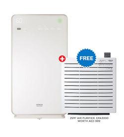 Hitachi Air Purifier With Humidifier - EP-M70E,  White