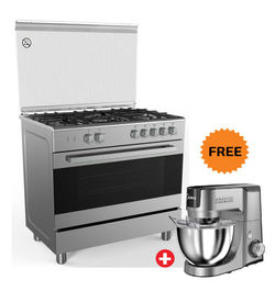 MIDEA 90x60CM FULL SAFETY COOKER WITH 5 GAS BURNERS (SABAF) , VS96048D,  Stainless Steel