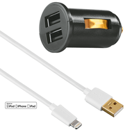 HAMA Dual Piccolino II USB Vehicle Charger 2.4A HAU6014138+ Lightning USB Cable MFI 1Mtr,