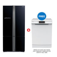 Hitachi Refrigerator RWB730 French Bottom Freezer,  Glass Black