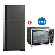 Hitachi Refrigerator RVG610PUK Big 2 Glass Door Inverter,  Gray, 610L