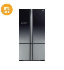 Hitachi Refrigerator RWB800 French Bottom Freezer,  Black
