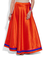 Very Me Faux Silk Plain Skirt (W-FPS-2406), 40, orange