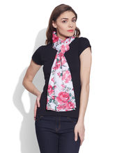 Very Me Cotton Printed Voile Scarf (W-VPS-2108), pink