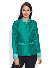 Very Me Faux Silk Short Jacket (W-FSJ-2513), 44, teal