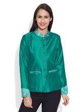 Very Me Faux Silk Short Jacket (W-FSJ-2513), 44, teal