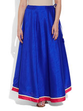 Very Me Faux Silk Plain Skirt (W-FPS-2409), 34, blue