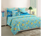 Swayam Turquoise Double Bed Sheet With Pillow Covers