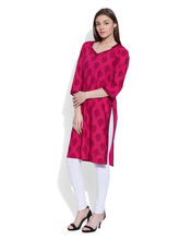 Very Me Cotton Printed Magenta Long Kurta (GS-1903), l