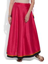 Very Me Faux Silk Plain Skirt (W-FPS-2407), 46, crimson red