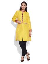 Very Me Faux Silk Long Jacket (W-FLJ-2304), 34, lemon