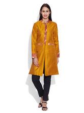 Very Me Faux Silk Long Jacket (W-FLJ-2310), 32, yellow