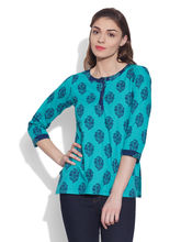 Very Me Cotton Printed Kurti (W-CPK-1818), 36, turquoise
