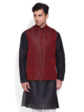 Very Me Faux Silk Nehru Jacket (M-FNJ-1514), 38, maroon