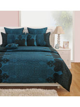 Swayam Black And Blue Ethnic Fitted Double Bed Sheet With Pillow Covers