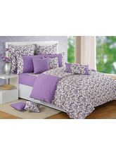Swayam Purple And White Floral Double Bed Sheet With Pillow Covers