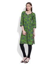 Very Me Cotton Printed Green Long Kurta (GS-1917), m