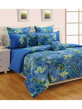 Swayam Blue And Yellow Floral Fitted Double Bed Sheet With Pillow Covers