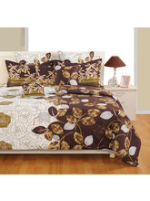 Swayam Brown And White Floral Single Bed Sheet With Pillow Covers