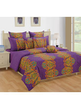 Swayam Purple And Yellow Ethnic Single Bed Sheet With Pillow Covers