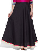 Very Me Faux Silk Plain Skirt (W-FPS-2405), 46, black