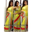 Kmozi Monika Soni Designer Saree, lime yellow