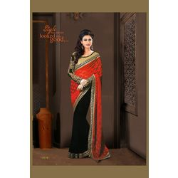 Kmozi New Arrivals Designeer Saree Online, black and red