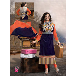 Kmozi Ayesha Takia Heavy Embroidery Neck Salwar Kameez, blue