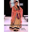 Kmozi Bollywood Buterfly Designer Lehenga, orange and light yellow