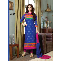 Kmozi Latest Cotton Salwar Kameez, blue and pink